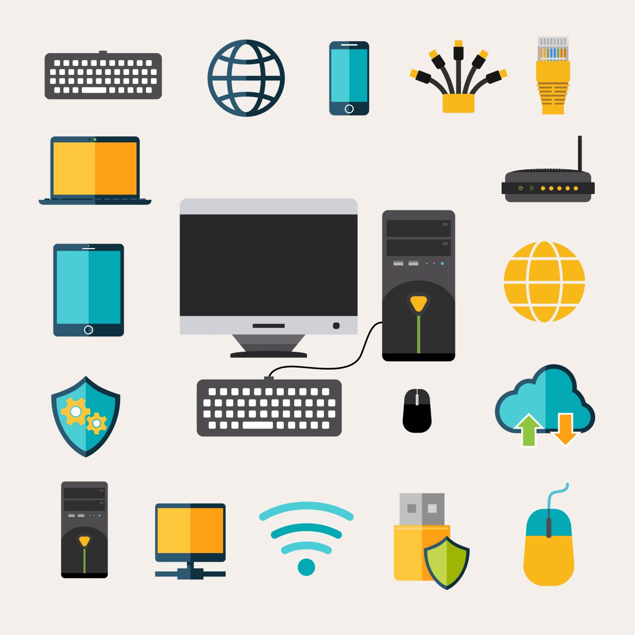 Network gadget set with flat mobile phone tablet and laptop isolated vector illustration