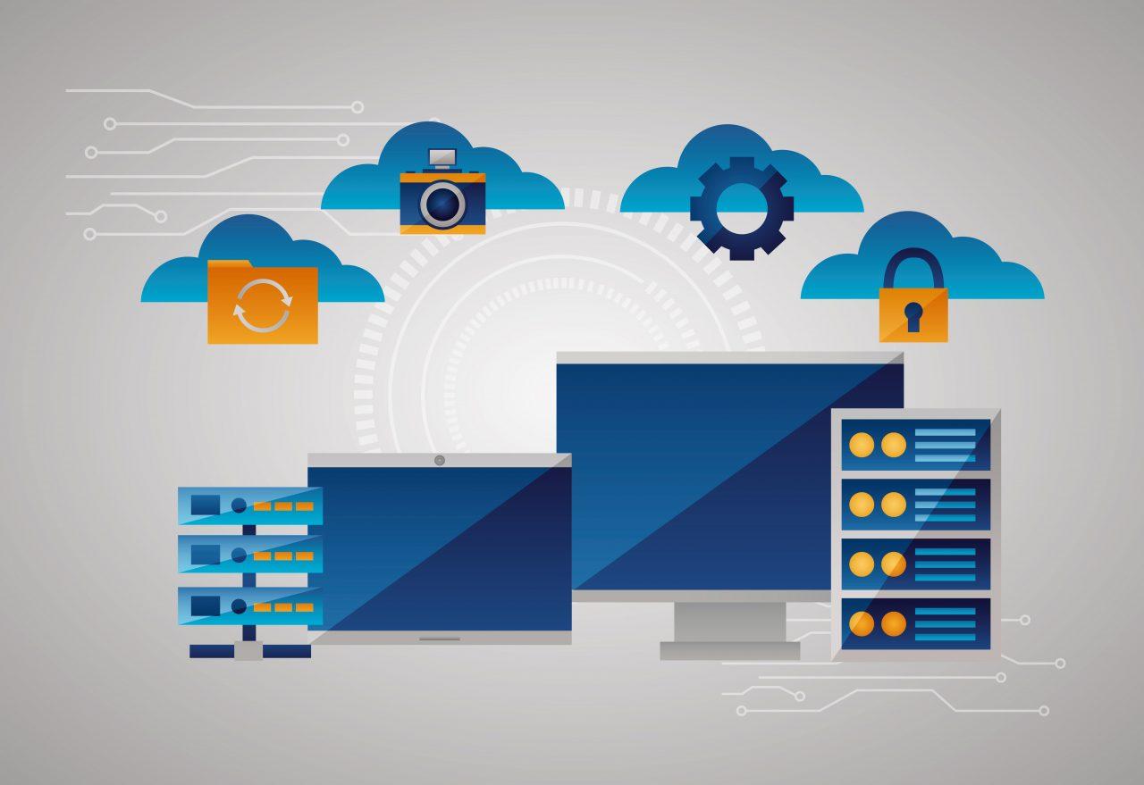 clouds tools computing data base vector illustration